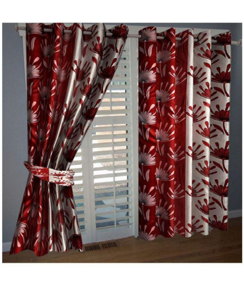 Tanishka Fabs Set of 4 Window Semi-Transparent Eyelet Polyester Curtains Red