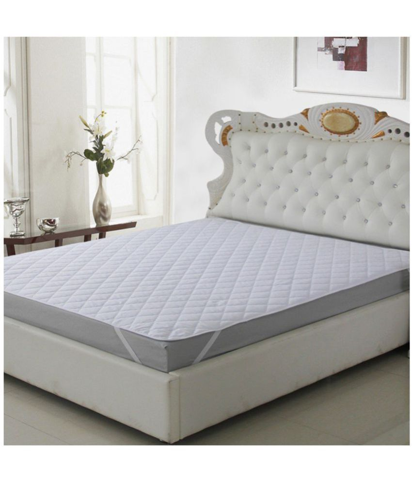 The Intellect Bazaar King Size Mattress Protector White Poly Cotton