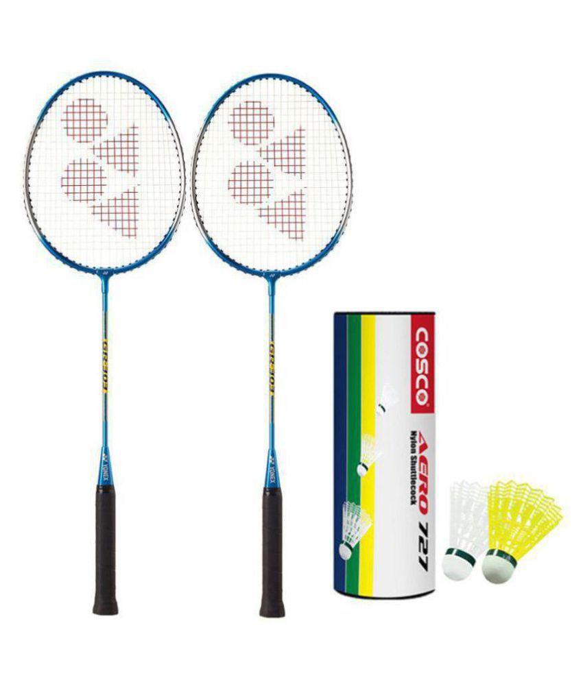2 Yonex GR 303 Badminton Racquet Assorted with 6 Cosco Shuttles