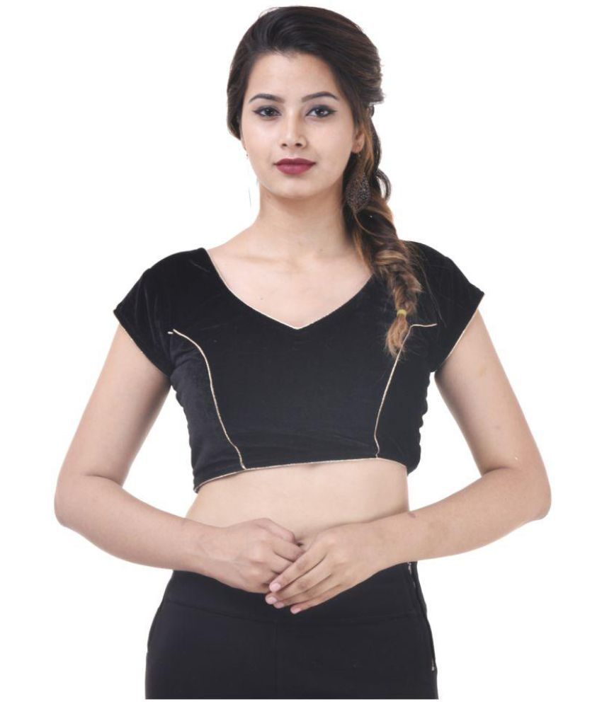 Wow Black Velvet Readymade with Pad Blouse