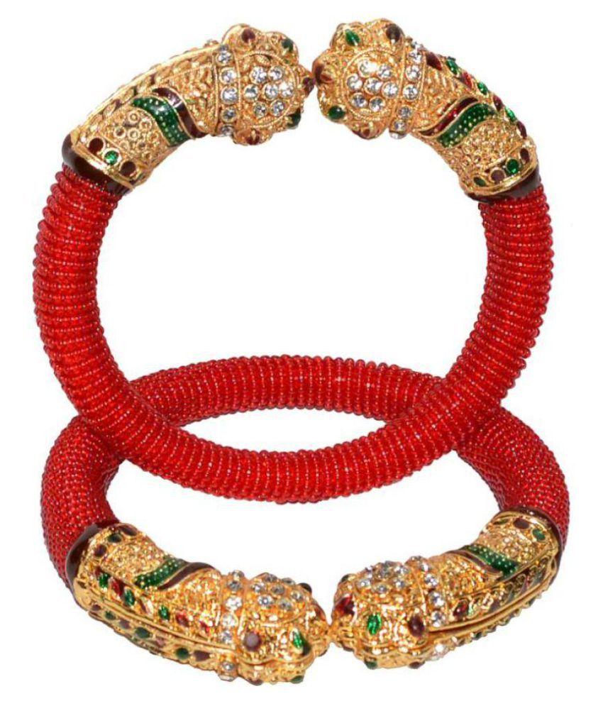 Jewels Kafe Traditional Ethnic One Gram Gold Plated Delica Bead with Meenakari  Designer Openable Kada