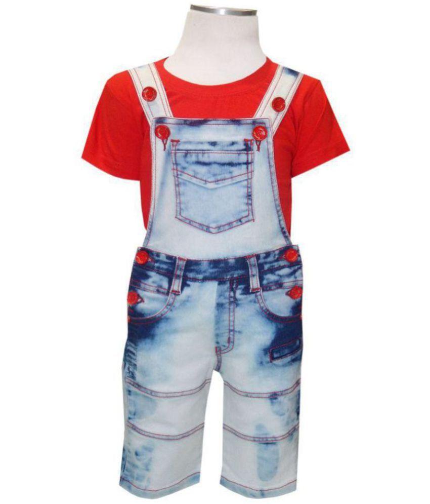 915fe66bc5 ... Kooka Kids Boys Dungaree With Half Sleeves Round Neck T-Shirt And Denim  Bottom ...