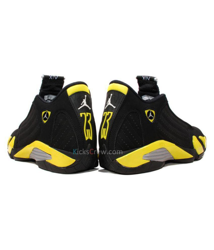 buy popular d0863 ee54e Nike Jordan 14 Retro 'Thunder' Black Basketball Shoes