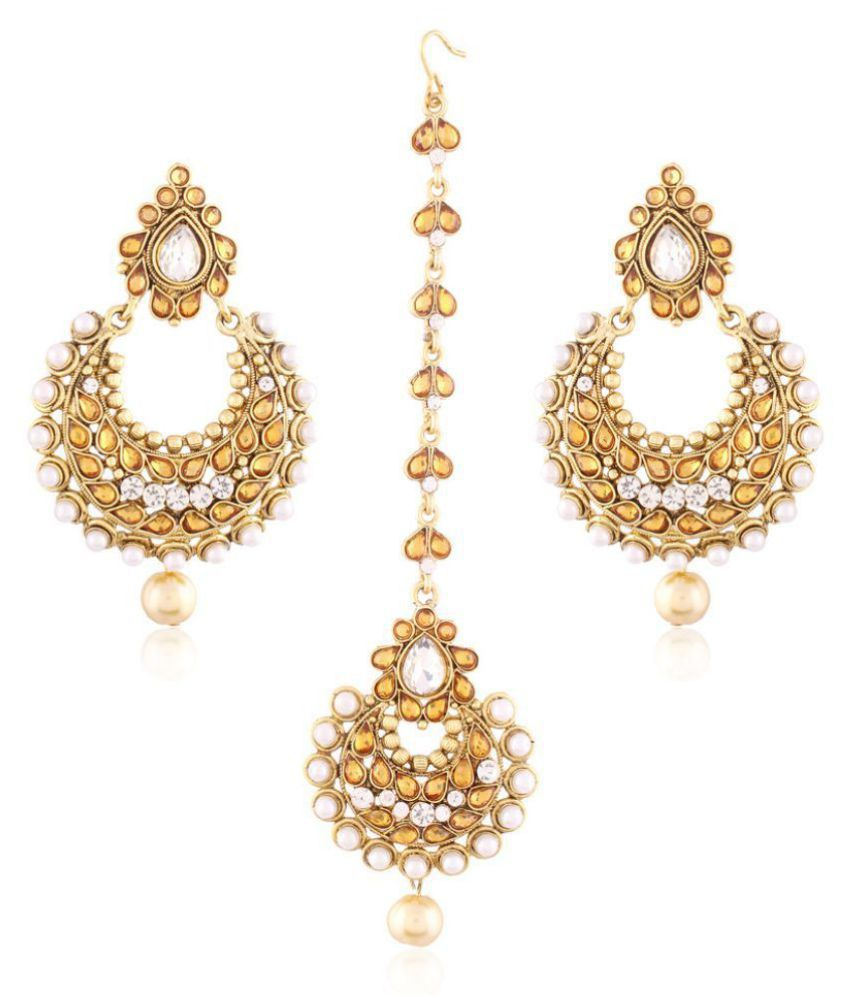 0f8924c83 I Jewels Traditional Gold Plated Earring Set with Maang Tikka - Buy I  Jewels Traditional Gold Plated Earring Set with Maang Tikka Online at Best  Prices in ...
