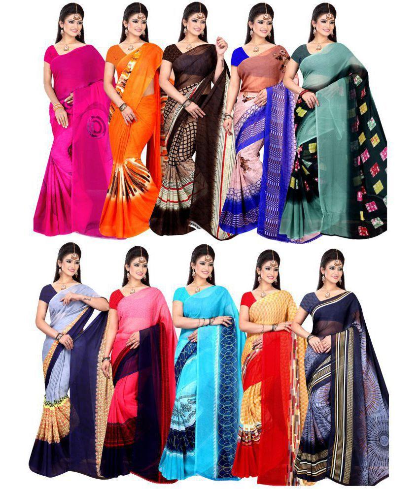 Khatu Shyam Multicoloured Georgette Saree Combos