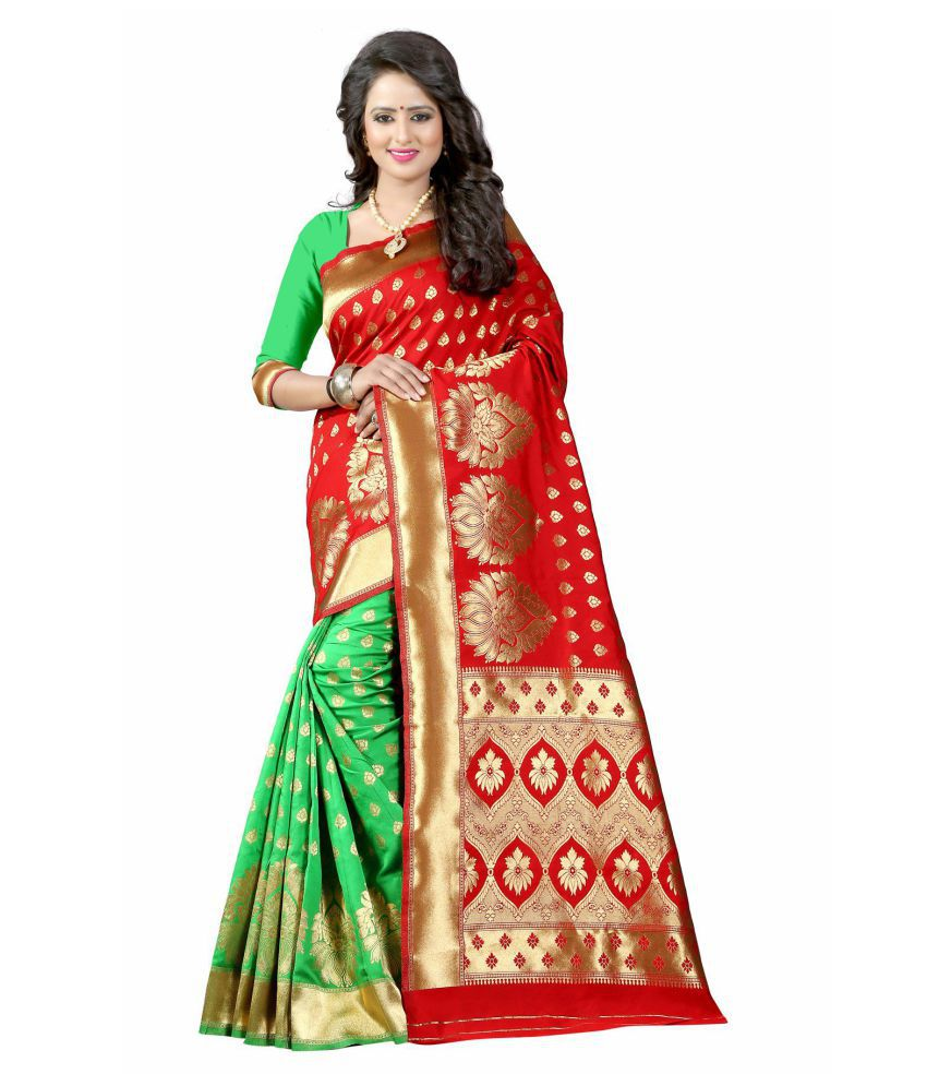 limozine creation Red and Beige Banarasi Silk Saree