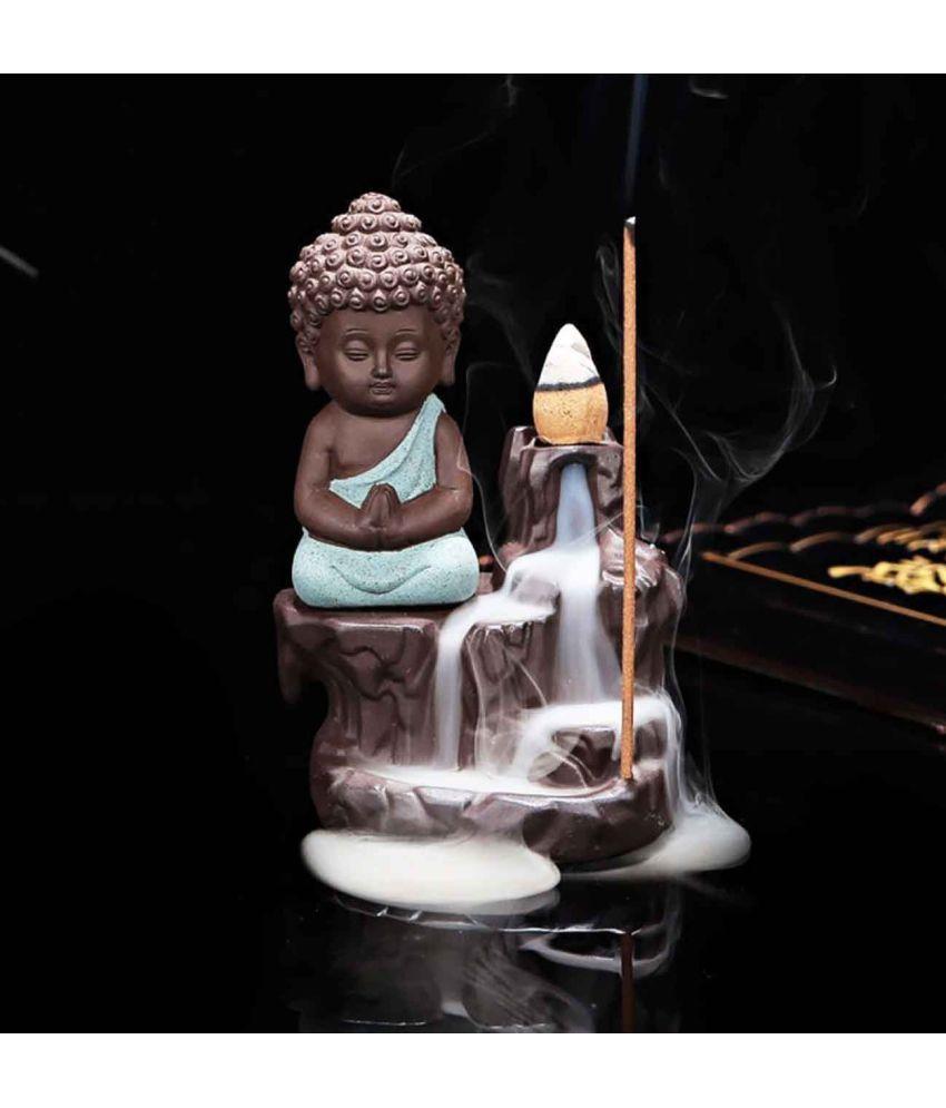 iHandikart Multicolour Polyresin Monk Buddha Smoke Backflow - Pack of 1
