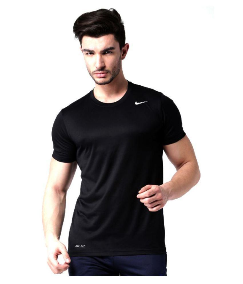 dcebc04a Nike Black Polyester Lycra T-Shirt - Buy Nike Black Polyester Lycra T-Shirt  Online at Low Price in India - Snapdeal