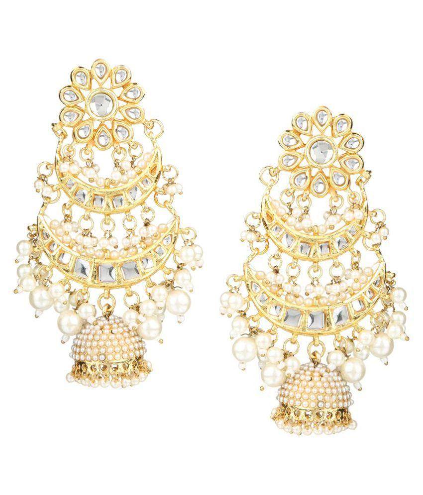 AccessHer Traditional Kundan jadau Chandbali with jhumki dangle earrings for women