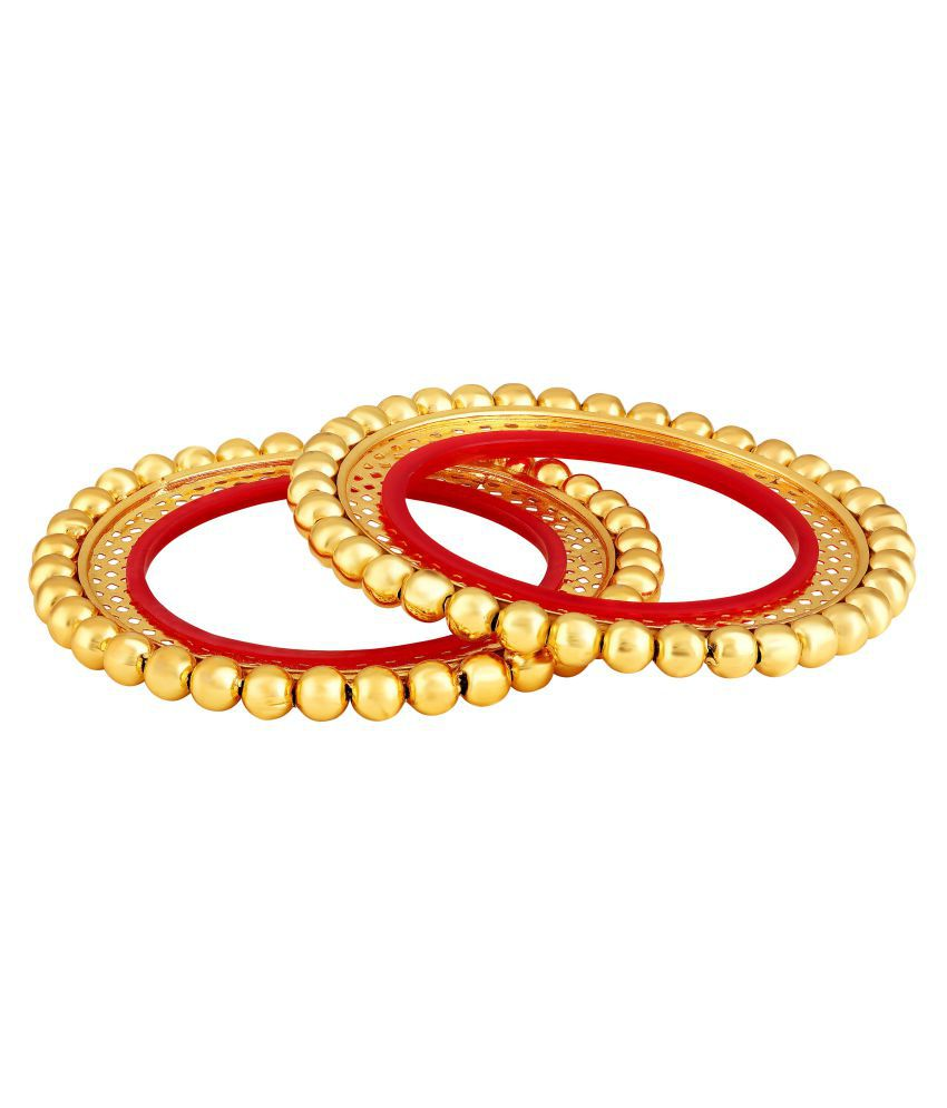 2a74d89fbe60b Asmitta Traditional Rajasthani Gokhru Design Brass Gold Plated Set of 2  Bangle Set For Women