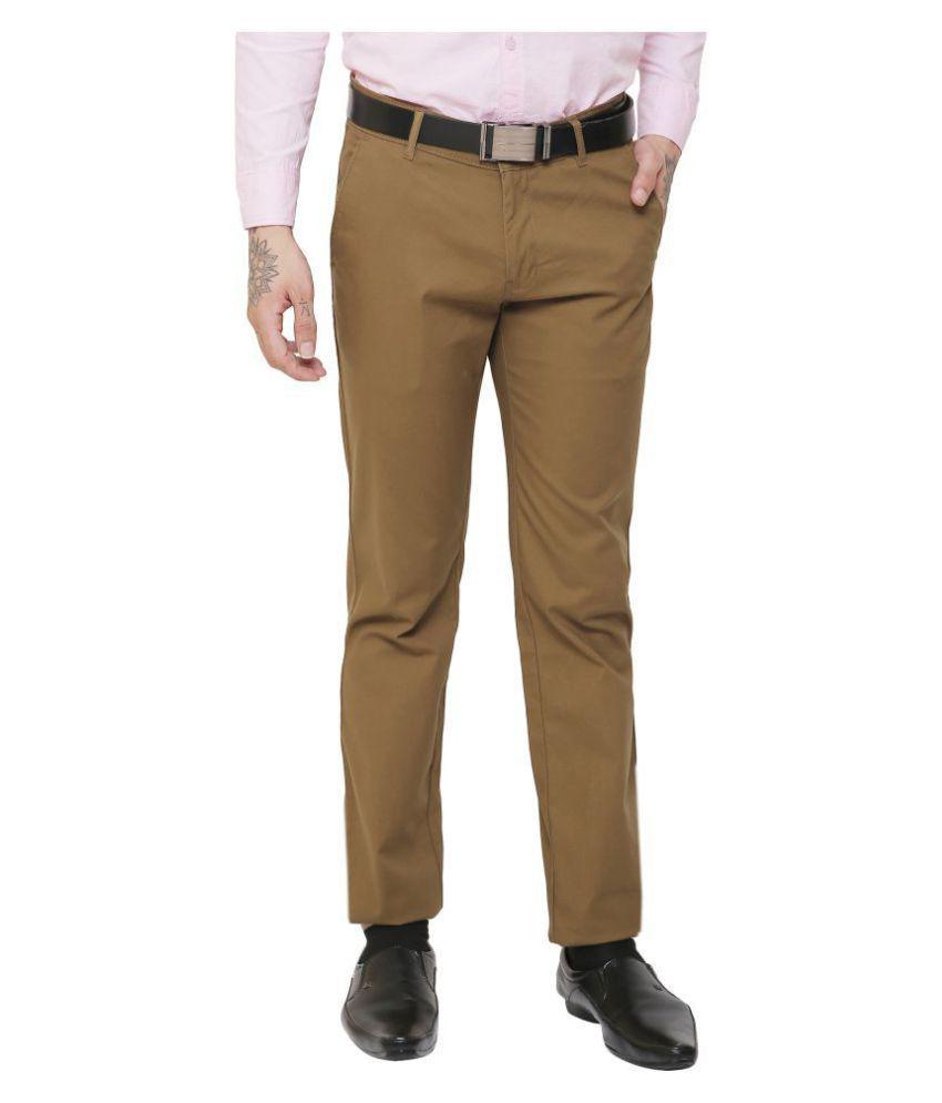 AD & AV Khaki Regular -Fit Flat Trousers