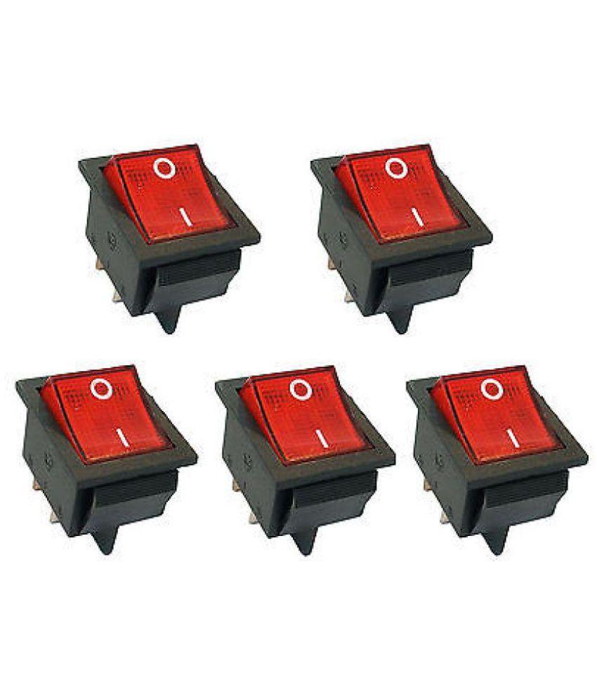 GADGETSMORE 5 Pcs AC 10A/125V 6A/250V 2 Pole SPST ON/OFF Mini Boat Rocker Switch(PACK OF 5)