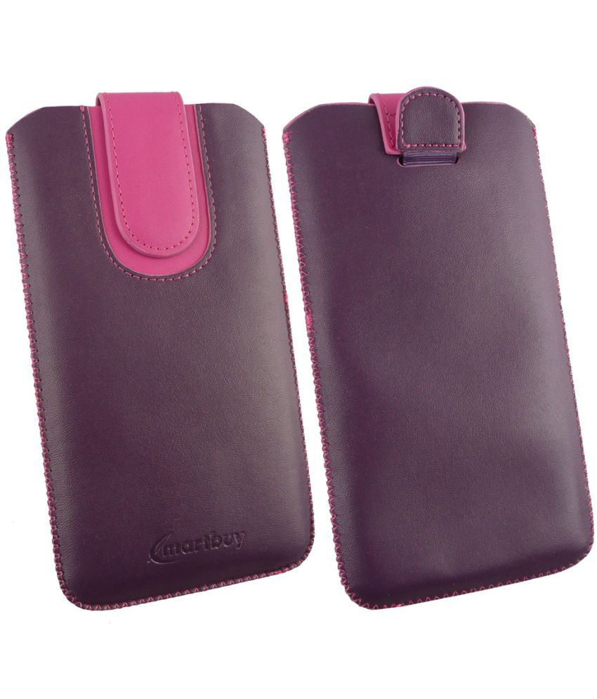 Doogee Bl 5000 Flip Cover by Emartbuy - Multi ( Magnetic Pouch Size 3XL ) Purple/Pink Plain