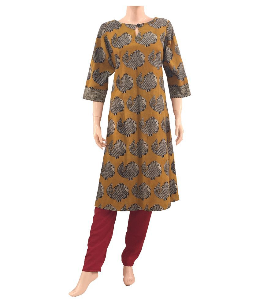 Scarletthread Yellow Cotton A-line Kurti
