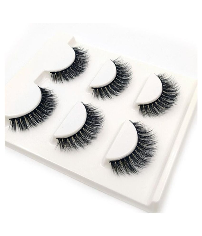 Wowobjects 3 Pairs Natural False Eyelashes Thick Makeup Real 3d Mink