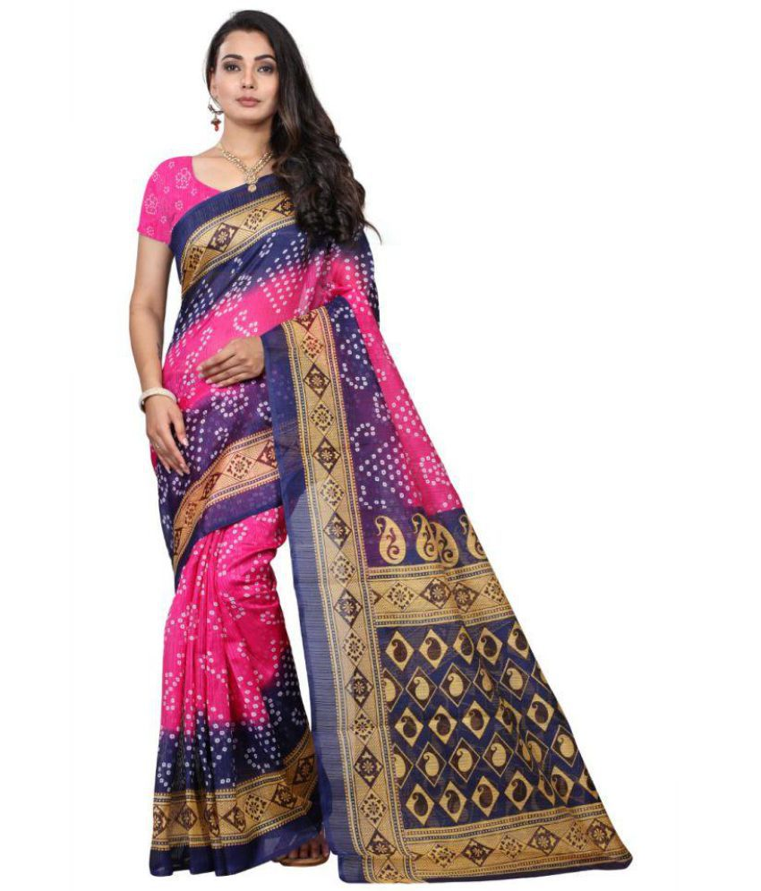 Hindva Fashion Pink Bhagalpuri Silk Saree Combos