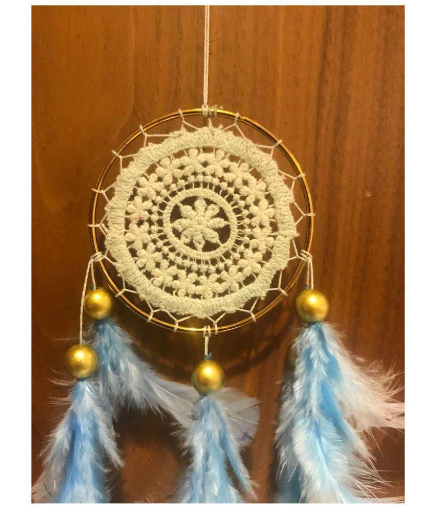 Rooh Wellness Baby Blue Crochet Dream Catcher Feather Blue Dream