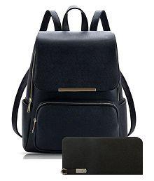 Parrk Black P.U. Backpack Combo