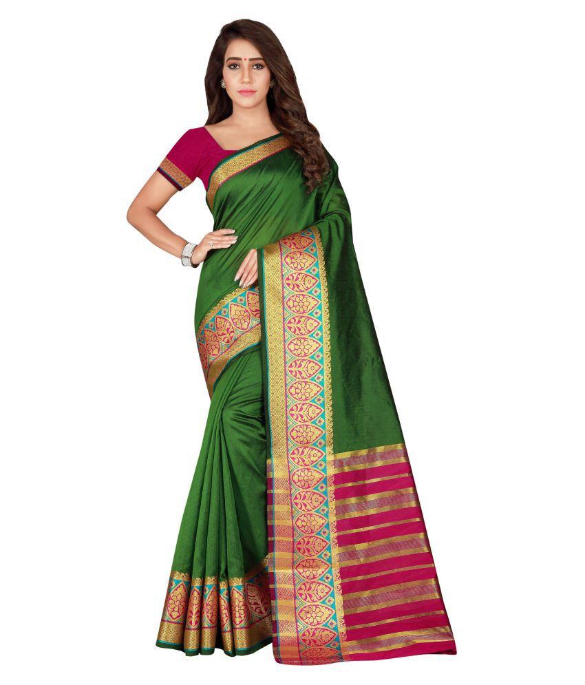 Today Deal Green and Beige Silk Blends Saree