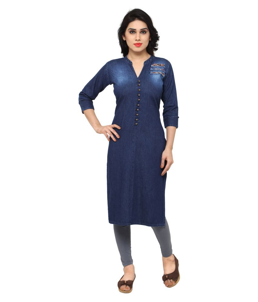 Kvsfab Blue Denim Straight Kurti