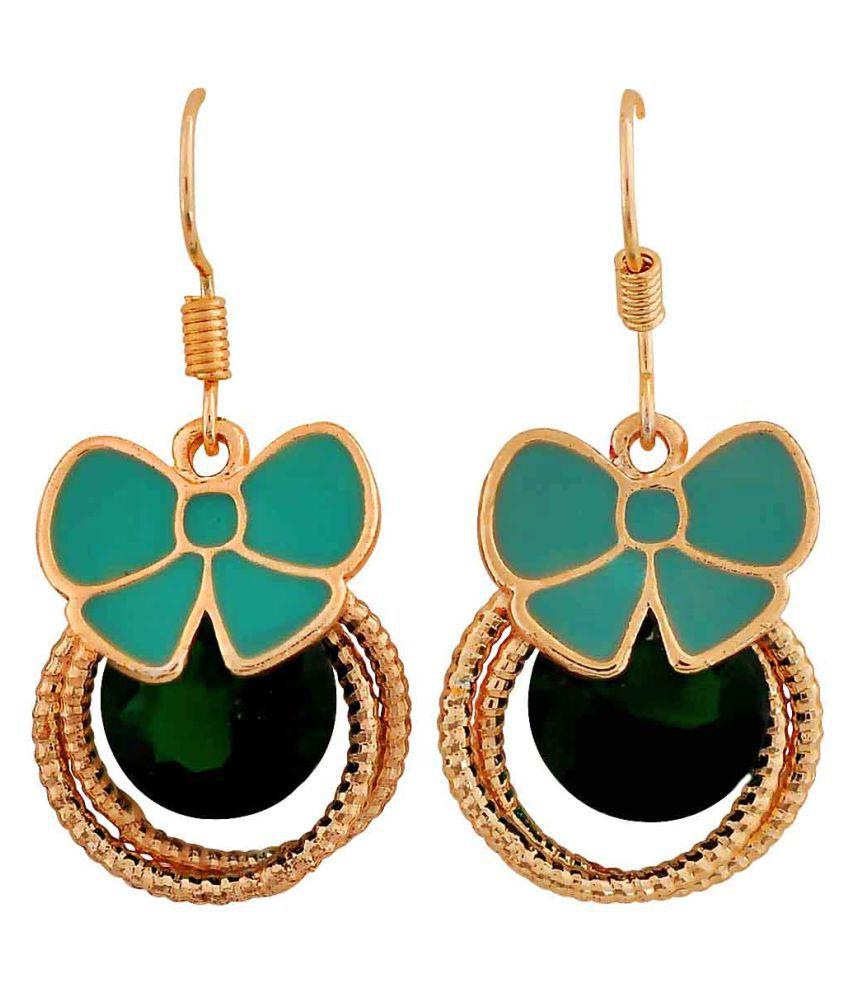 Maayra Enamel Bow Earrings Green Dangler Drop Party Jewellery