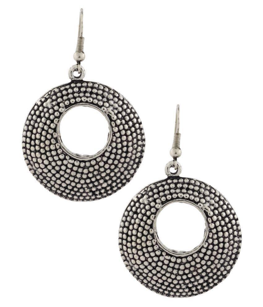The Jewelbox Dainty Indian Jaipur Geometric Oxidized German Silver Jhumki Earring for Women