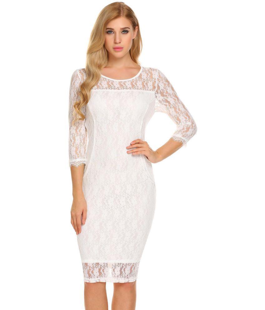 Generic Lace white Pencil Dress