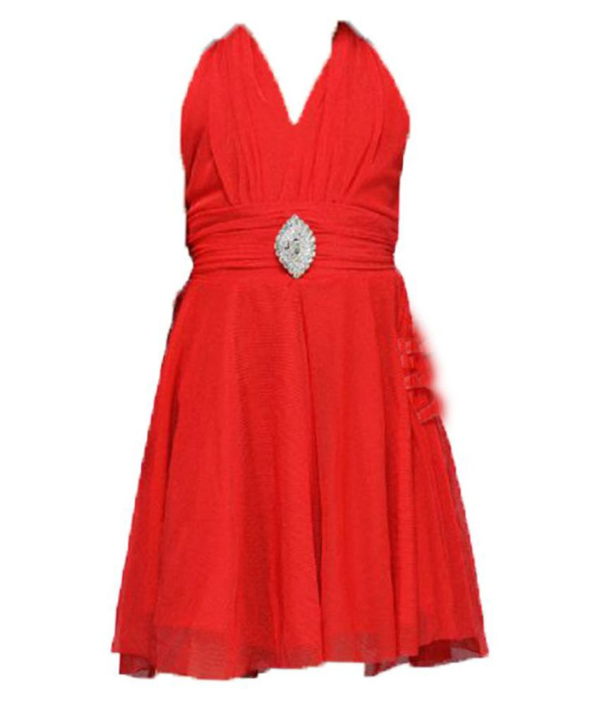 Aarika Newborn Baby Girl Dress Frock Red Party Wear Dress Frock