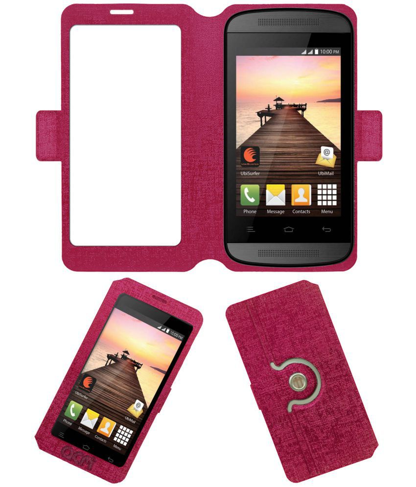 Datawind Pocketsurfer 3g4+ Flip Cover by ACM - Pink Dual Side Stand
