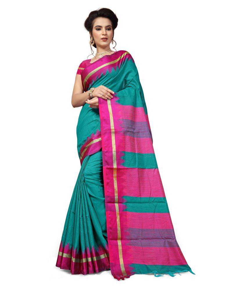 GSFS Green and Pink Bhagalpuri Cotton Saree