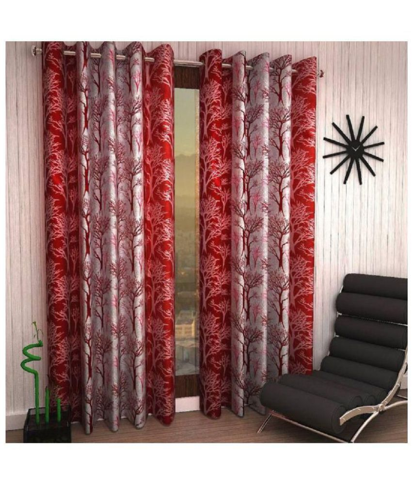 Tanishka Fabs Set of 2 Door Semi-Transparent Eyelet Polyester Curtains Maroon