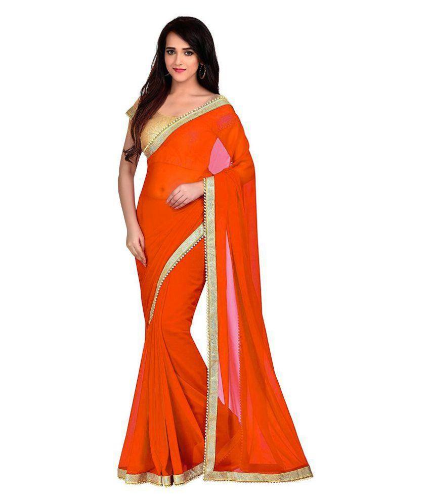 Bigben Textile Red and Orange Georgette Saree