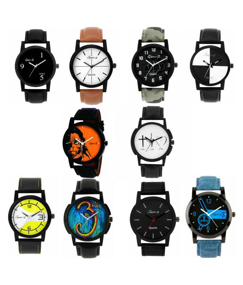 Gen Z Bestselling Gift Combo - 10 Graphic Analog watches Leather Analog Men's Watch