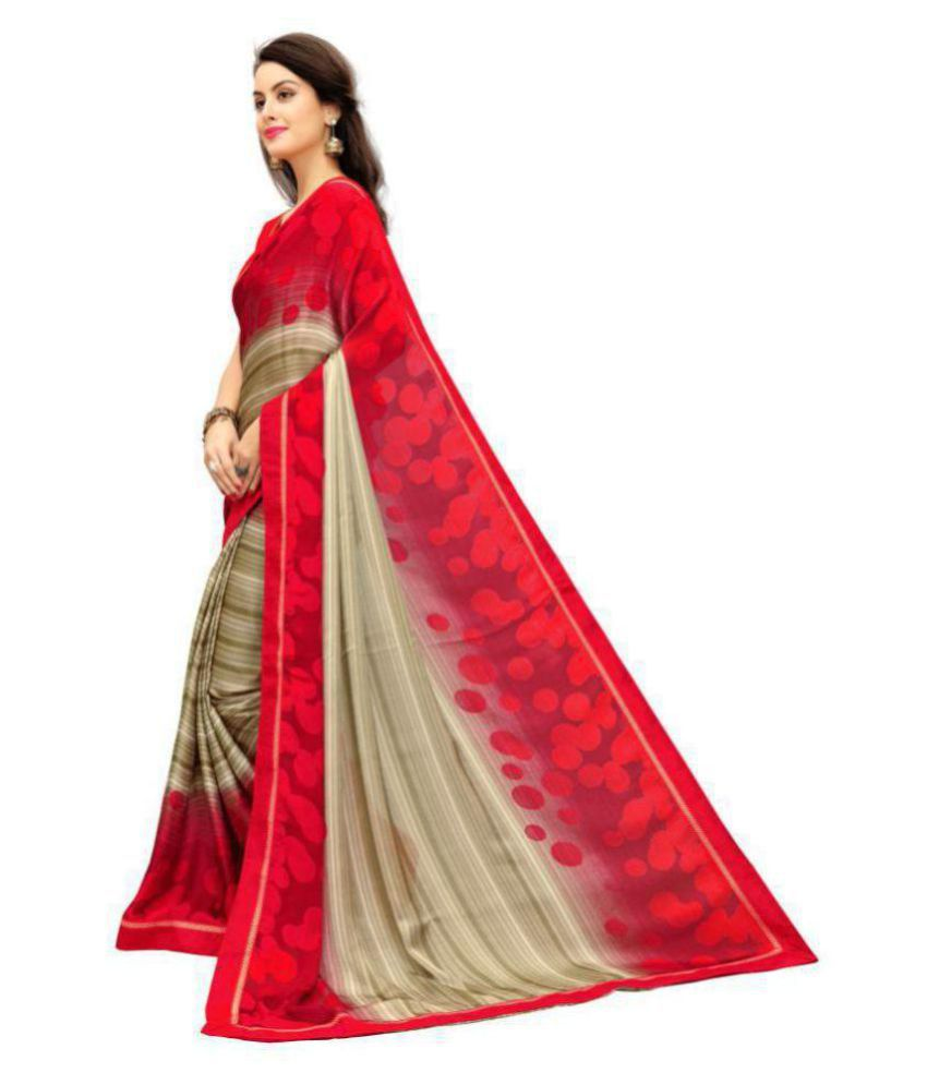 96912f7a88d Zofey Bollywood Designer Sarees Red and Beige Georgette Saree - Buy ...