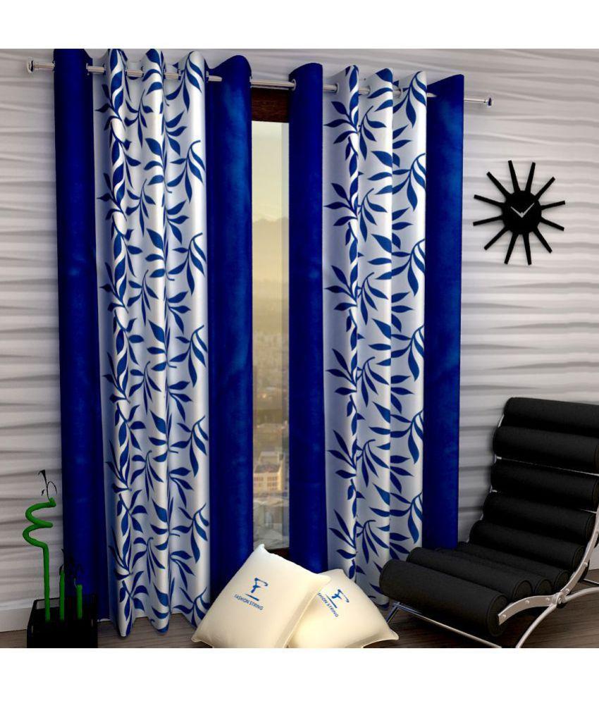 Fashion String Set of 2 Window Semi-Transparent Eyelet Polyester Curtains Blue