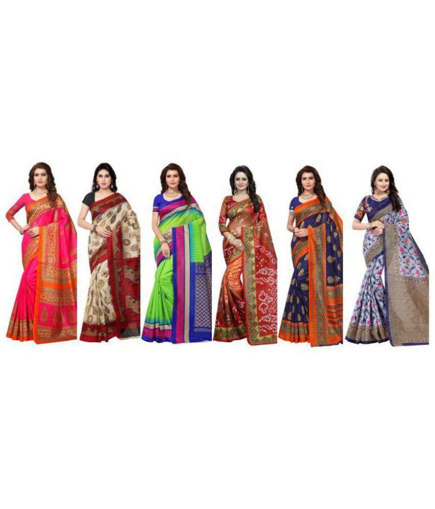 SHREE RAJLAXMI SAREES Multicoloured Cotton Silk Saree Combos
