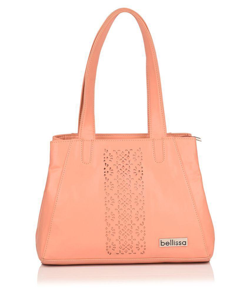 BELLISSA Peach P.U. Shoulder Bag