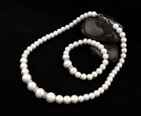 Kamalife Fashion Personality Wild Alloy Classic Shambhala Diamond Ring Pearl Necklace Bridal Set Jewelry For Women Populer