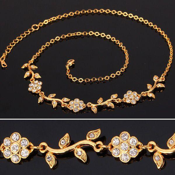 Kamalife Lovely Leaf Charms Chains Clear Austrian Rhinestone Bohemia Necklace Bracelet 18K Gold Platinum Plated Fashion Jewelry Set U7 Platinum