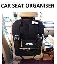 VRT Multi Pocket Black Organizer for Car Seat Back. Multi-use to hold ipad, bottle, tissue, toy etc. - 1 Piece