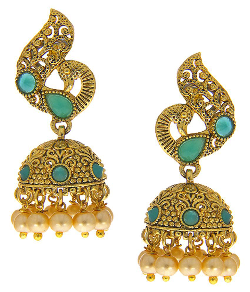 Anuradha Art Gold Finish Studded Rama Green Colour Stone Traditioanal Earrings For Women/Girls