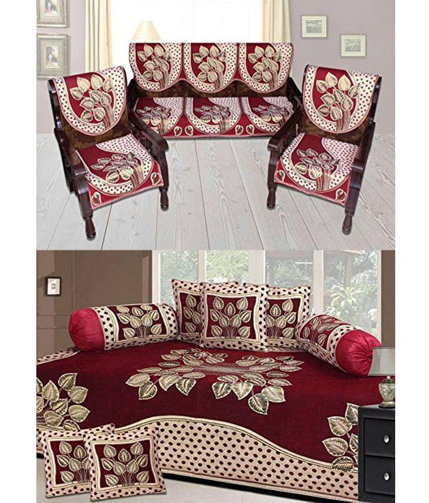 Laying Style Chenille Maroon Diwan Set 8 Pcs