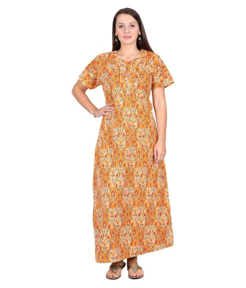 09ea114ad14a Buy NIGHTY HOUSE Cotton Nighty   Night Gowns - Yellow Online at Best Prices  in India - Snapdeal