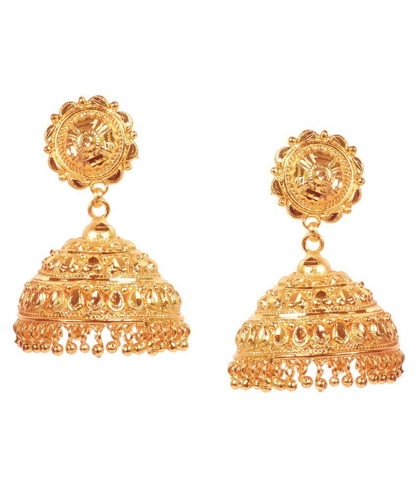 City Gold Traditional Gold Plated Copper Drop Earrings For Girls/Women