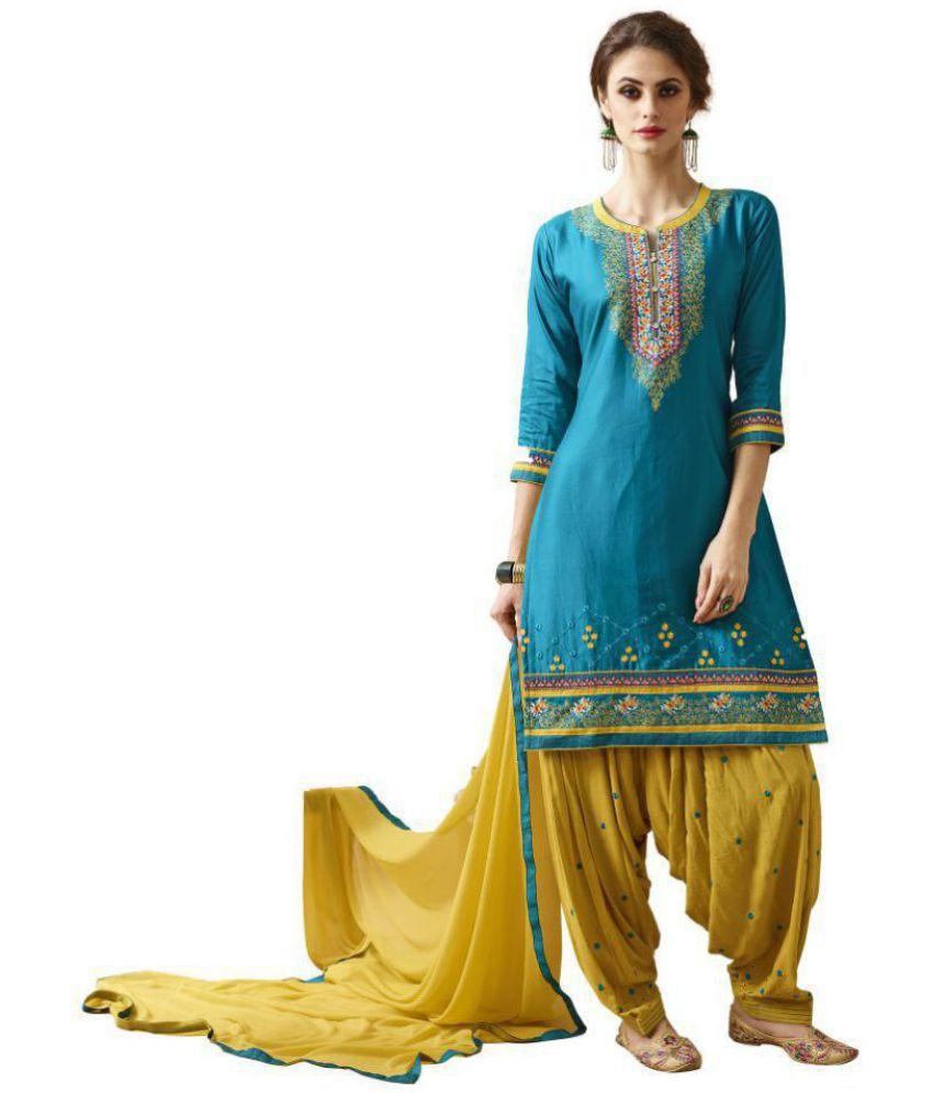 Patiala House Blue Cotton Dress Material