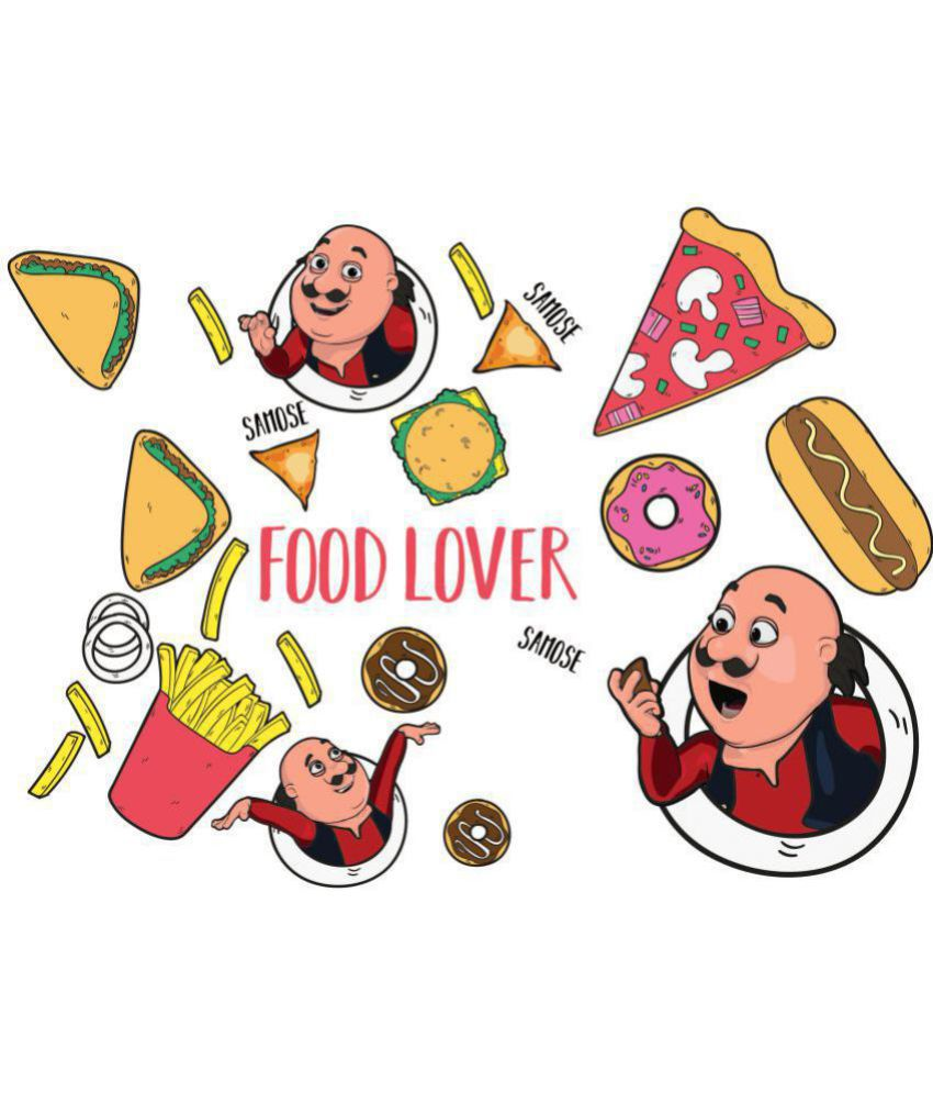 Asian Paints Wall Ons Motu Patlu XXL Yummy Food Lovers Cartoon Characters  Sticker ( 101 x 168 cms )