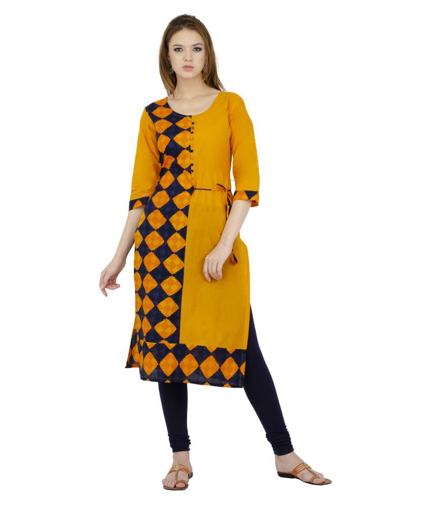 Rishaga Yellow Cotton Straight Kurti
