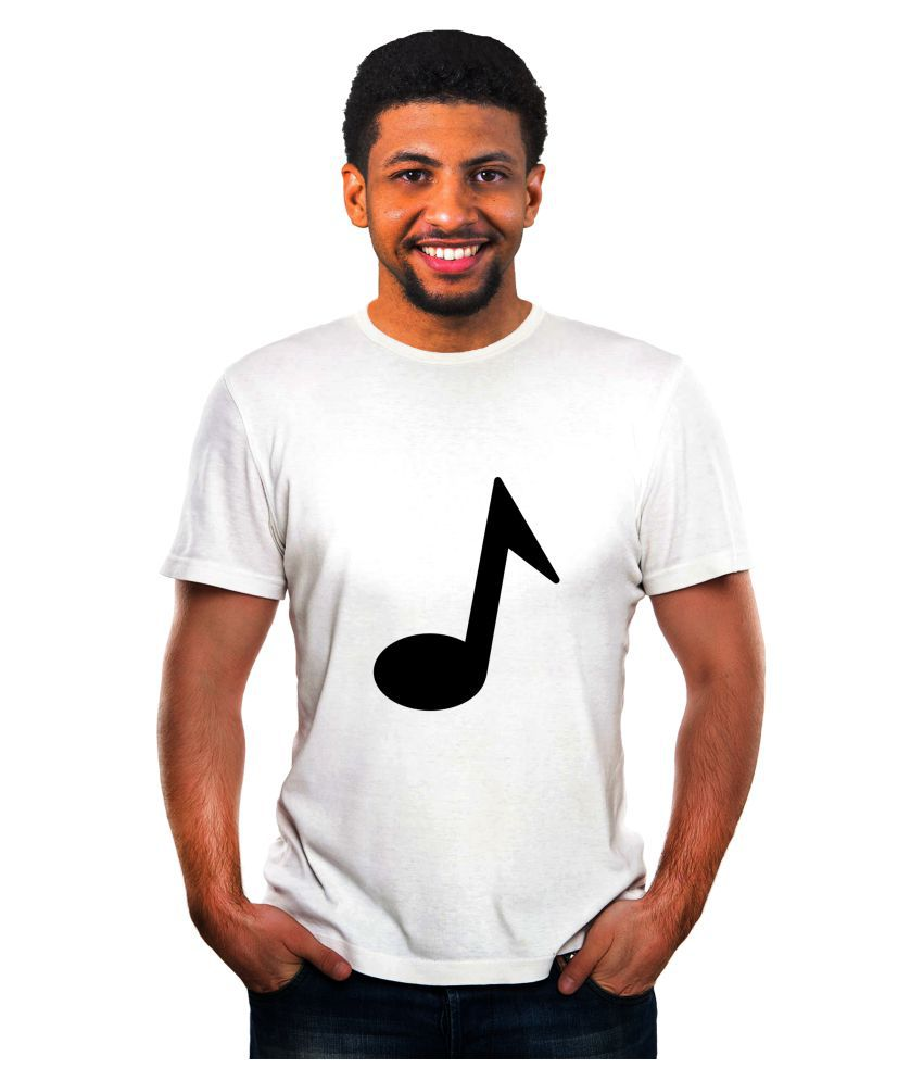 Ritzees Unisex Half Sleeve Dry Fit White Polyester T-Shirt on Music
