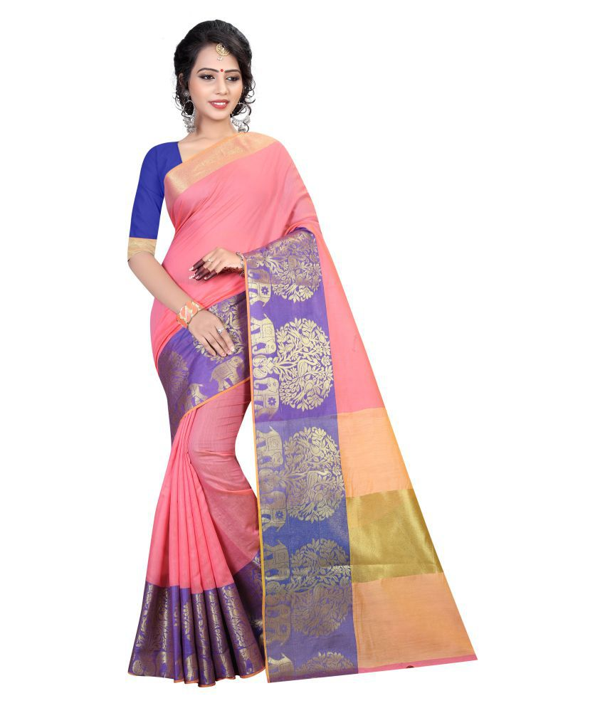 Wedding Villa Pink Cotton Saree