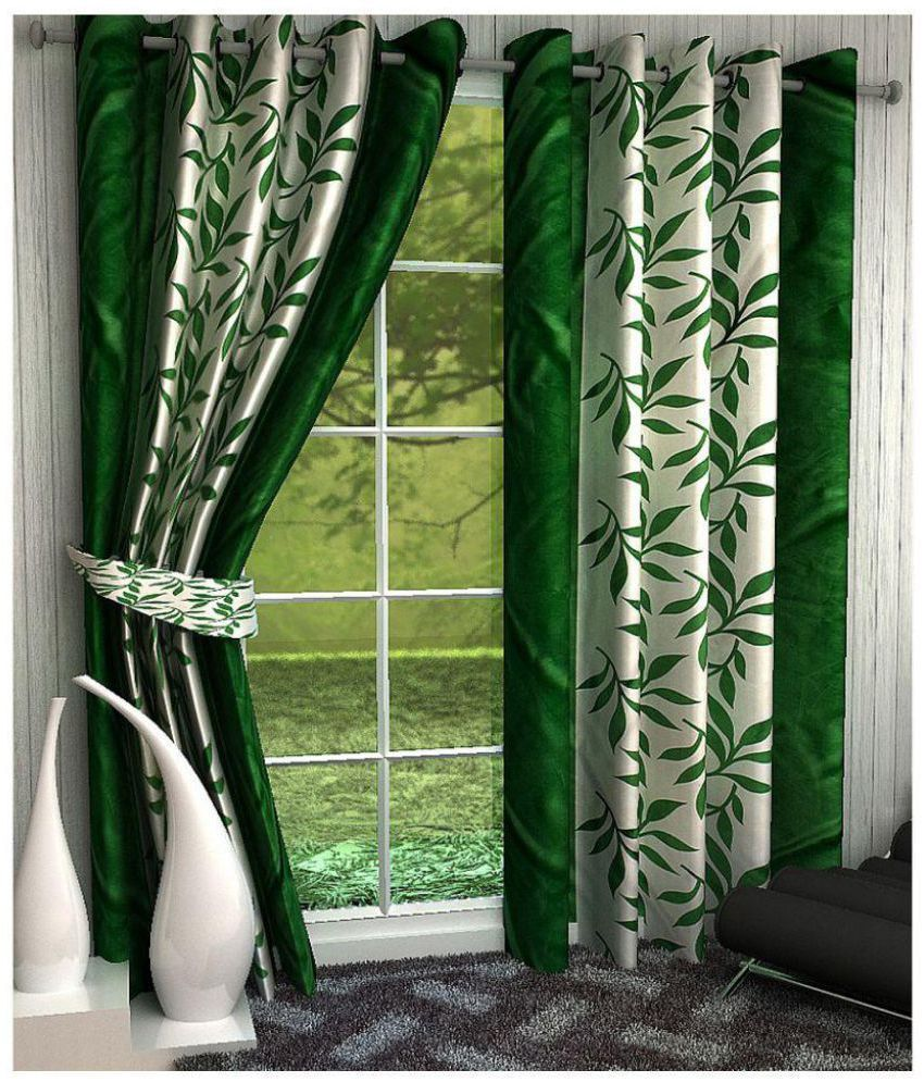 Geonature Set of 4 Window Semi-Transparent Eyelet Polyester Curtains Green